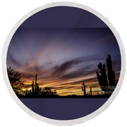 Cave Creek Arizona Sunset Round Beach Towel
