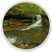 Cave Falls Arial View Round Beach Towel