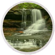 Cave Falls In The Laurel Highlands Round Beach Towel