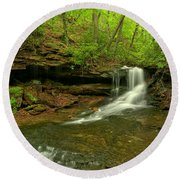 Cave Falls Of Somerset County Round Beach Towel