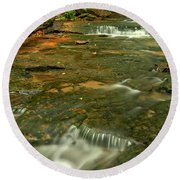 Cave Falls Portrait - Forbes State Forest Round Beach Towel