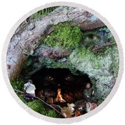 Cave Of Woodland Spirit Round Beach Towel