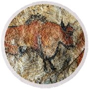 Cave Painting In Prehistoric Style Round Beach Towel by Michal Boubin