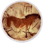 Cave Painting Of A Horse Round Beach Towel