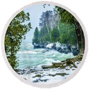 Cave Point #5 Round Beach Towel