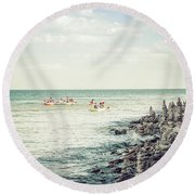 Round Beach Towel featuring the photograph Cave Point Rock Formations by Joel Witmeyer