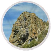 Round Beach Towel featuring the photograph Cave Rock At Tahoe by Benanne Stiens