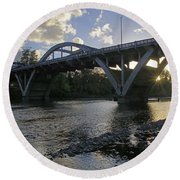 Caveman Bridge At Sunset Round Beach Towel