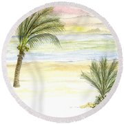 Round Beach Towel featuring the digital art Cayman Beach by Darren Cannell