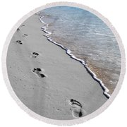 Round Beach Towel featuring the digital art Cayman Footprints Color Splash Black And White by Shawn O'Brien