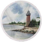 Round Beach Towel featuring the painting Cayman Lighthouse by Sam Sidders