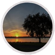 Round Beach Towel featuring the photograph Cayuga Lake Sunrise by Rod Best