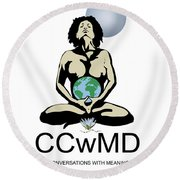 Ccwmd Logo White Background Round Beach Towel