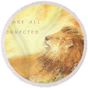 Cecil The Lion Round Beach Towel