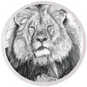 Cecil The Lion  Round Beach Towel