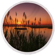 Cedar Beach Sunset In The Reeds Round Beach Towel