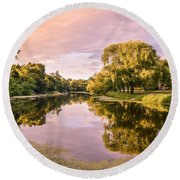 Cedar Creek - Early Evening Round Beach Towel
