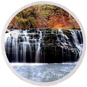 Cedar Creek Falls, Kansas Round Beach Towel