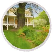 Cedar Grove In Spring Round Beach Towel