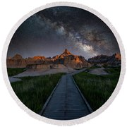 Round Beach Towel featuring the photograph Cedar Pass Milky Way by Darren White