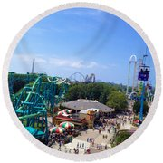 Cedar Point Amusement Park Round Beach Towel