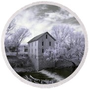 Cedar Point Mill In Infrared Round Beach Towel