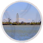 Cedar Point Panorama1aaa Round Beach Towel