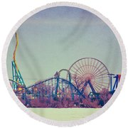 Cedar Point Skyline Round Beach Towel