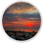Cedar Point Sunrise Round Beach Towel
