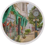 Cedarburg Street Clock Round Beach Towel