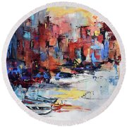 Cefalu Seaside Round Beach Towel by Elise Palmigiani