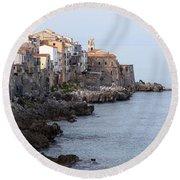 Cefalu, Sicily Italy Round Beach Towel