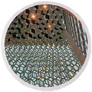 Ceiling At Harpa Reykjavik Iceland 6212 Round Beach Towel