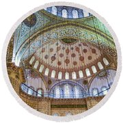 Ceiling Of Blue Mosque Round Beach Towel