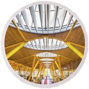 Round Beach Towel featuring the photograph Ceiling Windows Madrid Airport by Gary Gillette