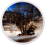 Celebrate The Winter Night Round Beach Towel