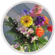 Round Beach Towel featuring the photograph Celebrate With A Bright Bouquet by Nancy Lee Moran