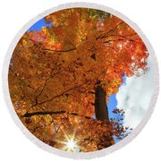 Round Beach Towel featuring the photograph Celebrating Autumn by Gary Hall