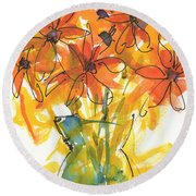 Celebration Of Sunflowers Watercolor Painting By Kmcelwaine Round Beach Towel