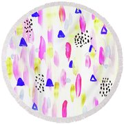 Celebration V2 Round Beach Towel by Uma Gokhale