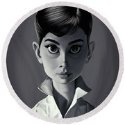 Celebrity Sunday - Audrey Hepburn Round Beach Towel