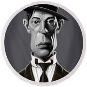 Celebrity Sunday - Buster Keaton Round Beach Towel by Rob Snow