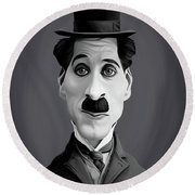 Celebrity Sunday - Charlie Chaplin Round Beach Towel