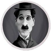 Celebrity Sunday - Charlie Chaplin Round Beach Towel by Rob Snow