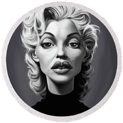 Celebrity Sunday - Marilyn Monroe Round Beach Towel by Rob Snow