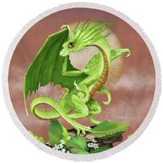 Celery Dragon Round Beach Towel by Stanley Morrison