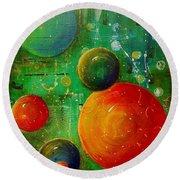 Celestal Planets Round Beach Towel by Tamyra Crossley