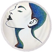 Round Beach Towel featuring the painting Celeste by Edwin Alverio