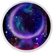 Round Beach Towel featuring the painting Celestial Crescent Moon Cat  by Nick Gustafson
