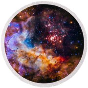 Celestial Fireworks Round Beach Towel by Marco Oliveira